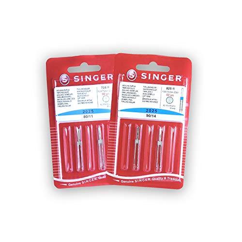 Pack de Agujas Dobles para Máquinas de Coser Singer 2025 Grosores 80 y 90 Separación 3mm