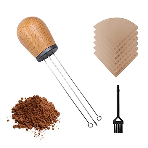 Espresso Coffee Stirrer Needle, Mini Whisk Wood Handle Stainless Steel Pin Distributor for Barista Tamper Stirring Distribution, Coffee Powder Auxiliary Tool with Filters Paper & Cleaning Brush