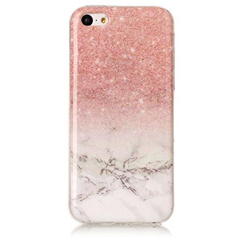 Lomogo iPhone 5C Hülle Marmor Silikon, Schutzhülle Stoßfest Kratzfest Handyhülle Case mit Marmormuster für Apple iPhone5C - YIHU23427#2