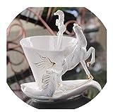 XYSQWZ Taza De Café De Esmalte De Caballo Juego De Tazas De Leche De Té De Porcelana Vajilla De Cerámica Creativa Regalos Creativos De Porcelana De Hueso Europea Blanco