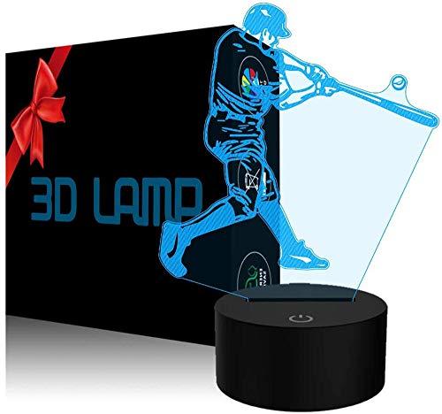 Lámpara 3D Luz de noche Béisbol Regalo Lámpara de Mesa Lateral 16 Colores Cambio Automático Interruptor Táctil Decoración de Escritorio Lámparas Regalo de Cumpleaños con Control Remoto