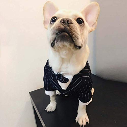 Petvins Dog Tuxedo Costume with Bowknot Tie, Pet Stripe Formal Suit Wedding Clothes, Prince Shirt Party Clothes for Small Medium Dog