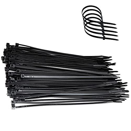 Kabelbinder schwarz 100 Stück, 300 mm/200 mm x 7,6 mm UV-Beständig ultra starke Kabelbinder mit 60 kg Zugfestigkeit Hitzebeständig, Langlebig