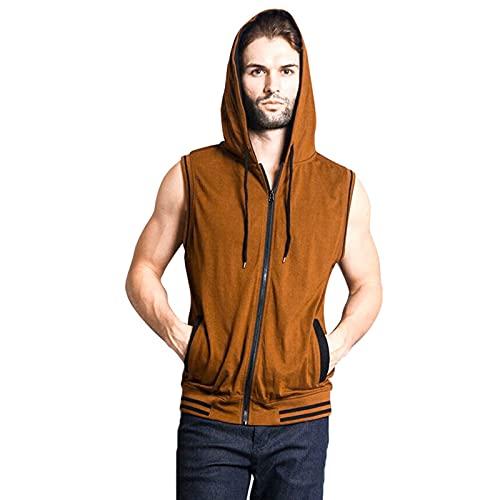 Mikelabo Camiseta de compresión para hombre, de algodón, para baloncesto marrón M