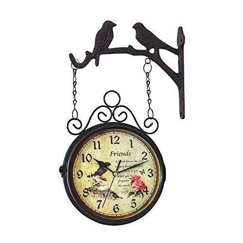 Nachar Reloj Jardin Exterior, Reloj Retro para Exteriores con Espejo de Cristal Impermeable, Reloj de Jardín Fácil de Colgar, Reloj de Estación Girado de 360 Grados para Decoración de Jardín