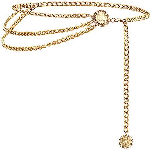 Lamdgbway Multi Layer Taillenkette Metallgürtel für Kleid für Frauen Gold 110CM