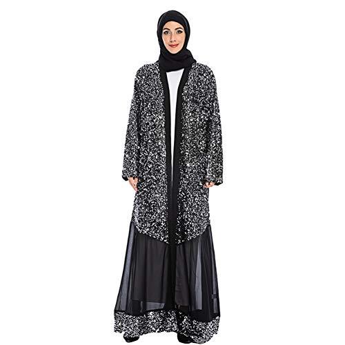 OOFAY Design Nähen Pailletten Kleid, Dubai Arabischen Muslimischen Gewändern, Chiffon Mit Pailletten Strickjacke,S