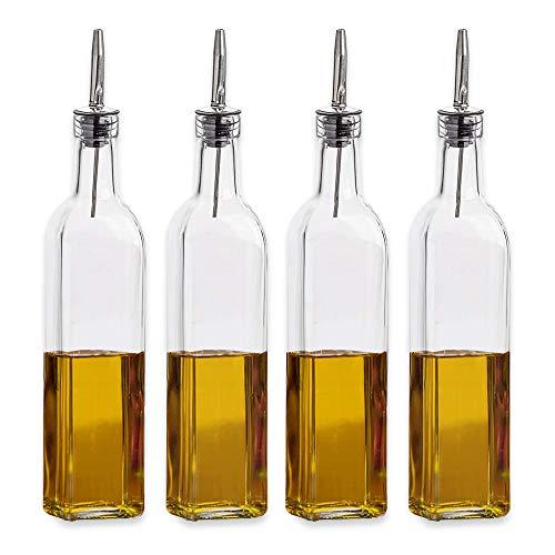 Botella de Vidrio para Aceite de Oliva y vinagre con dosificador Juego de Botellas cuadradas de Aceite de Oliva para aderezos y dispensador de Aceite Paquete de 2 con 2 Picos de Repuesto