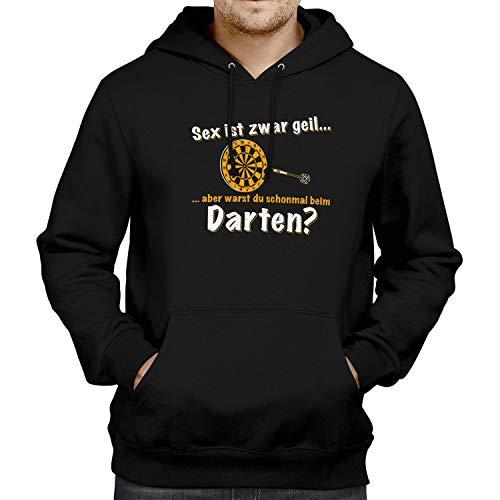 Fashionalarm Herren Kapuzen Pullover - Sex ist zwar geil - Darten - Herren Kapuzenpullover   Fun Hoodie Spruch Geschenk-Idee Darts   Hobby, Schwarz XS