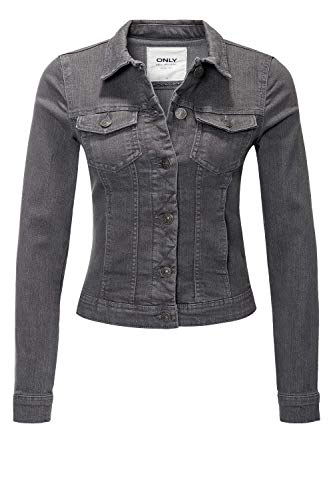 ONLY Damen Jeansjacke Übergangsjacke Leichte Jacke Denim Casual GE LESTA- Gr. L (40), Dark Grey Denim