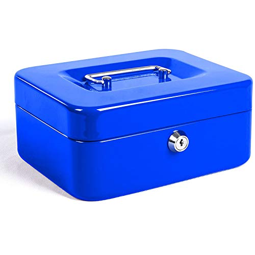 Caja de Efectivo con Bloqueo de Teclas, Caja de Dinero de Metal Portátil con Doble Capa y 2 Teclas Para Seguridad 12.5 * 10 * 5.6cm(S, Azul)