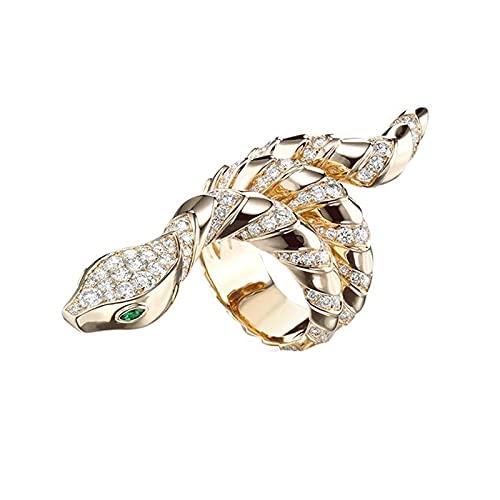 Anillos de serpiente de color dorado FGreen Eyes White CZ Stone Micro Pave Punk Joyería de moda7WhiteGreen