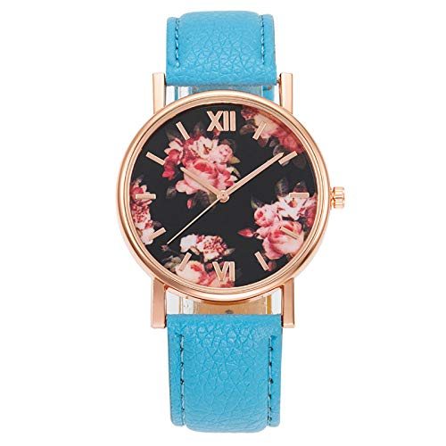 COAO Women's Luxury Watches Metal Case Rose Flower Print Dial with Imitation Leather Straps Roman Numerals Time Scale Casual Fashion Style with Analog Quartz Movement for Business Ladies