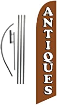 Antiques Store Advertising Feather Banner Swooper Flag Sign with Flag Pole Kit and Ground Stake