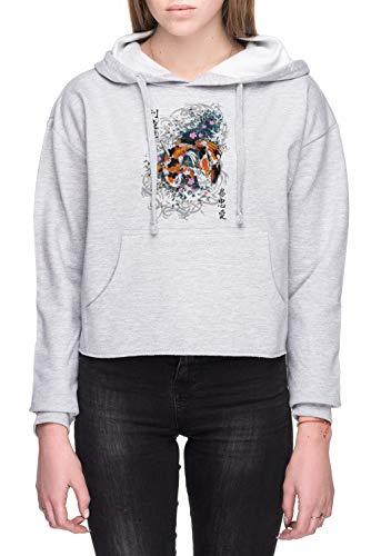 Pak Slaag Koi Dames Crop Capuchon Sweatshirt Grijs Women's Crop Hoodie Sweatshirt Grey