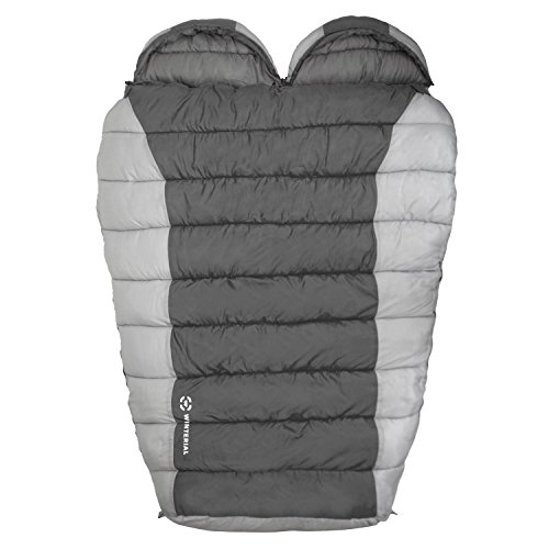 Winterial Double Mummy Sleeping Bag, Camping, Backpacking, Warm, 2 Person, Double Sleeping Bag, Grey