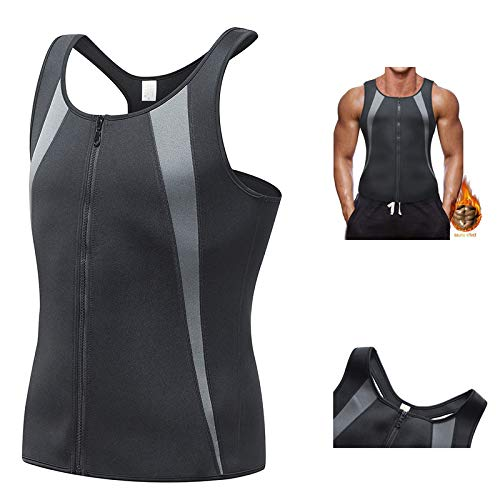 Heren Afslanken Korset Body Shaper Taille Trainer Vest Sauna Sweat Rits Vest voor Gewichtsverlies Workout Fitness Shirt