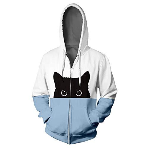 Dasongff Unisex dames heren sweatjack herfst hoodie contrast patchwork sweatshirt jack pullover bovendeel cat print capuchon pullover V-hals patchwork pulli met koord en ritssluiting Medium hemelsblauw