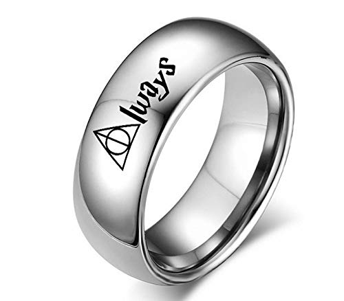 Sping Jewelry HP Always Horcruxes Couple Rings 8mm 4mm Silver Dome Ring Band for Men Women