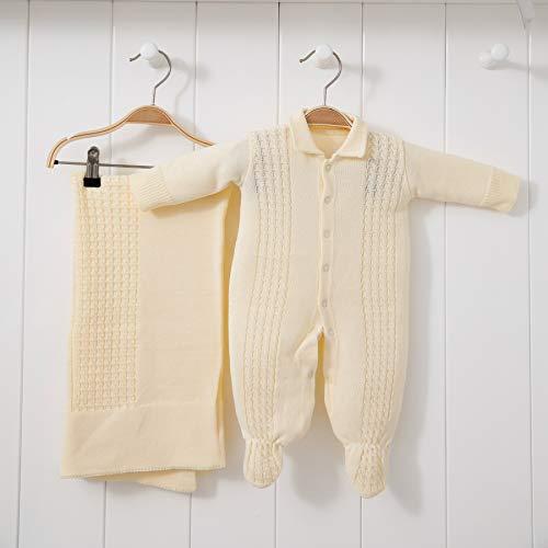 Saída De Maternidade Mami Tricot Modelo Trança Tamanho Rn 02 Peças, Papi Textil, Amarelo