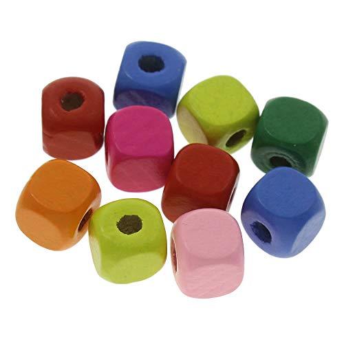 100 cuentas de madera en forma de cubo de 10 mm, multicolor, diferentes para enhebrar, cubos para manualidades, 3 mm, con agujero espaciador para joyas, manualidades y collares H173