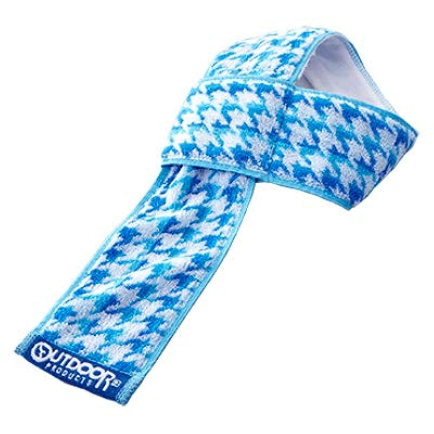 溶接ピンポイントエスニックOUTDOOR ポケット 付き マフラー タオル 千鳥格子柄 ( ブルー ) 保冷剤 入れ ウォーキング スポーツ