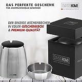 SWISSHOME - Der geruchsdichte XL Aschenbecher mit Deckel für Drinnen und Draußen in edler Geschenkbox - Das ORIGINAL - Das Geschenk für anspruchsvolle Genießer - 3