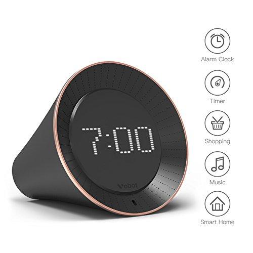 Vobot Smart Alarm Clock with Amazon Alexa[Touch-Initiate], 5W Speaker, LED Display, White Noise Machine, Timer/Date/Weather/Daily News/Radio/Music(Amazon Music, iHeartRadio, TuneIn etc)