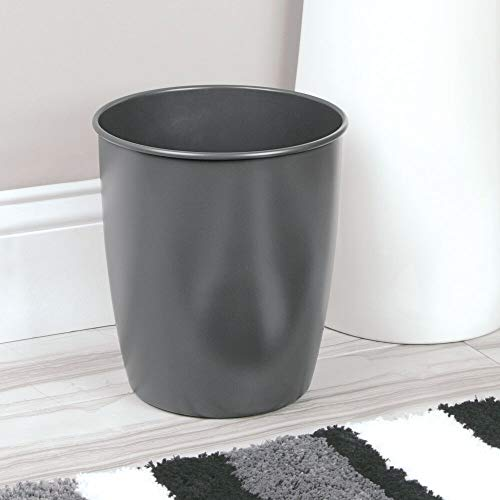 mDesign Round Metal Small Trash Can Wastebasket, Garbage Container Bin for Bathrooms, Powder Rooms, Kitchens, Home Offices - Steel - Matte Slate Gray
