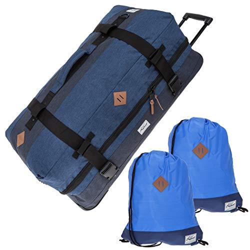 ELEPHANT Trolley XXL 80 cm / 120 Liter Rollreisetasche + Wäschebeutel (Two Tone Blau)