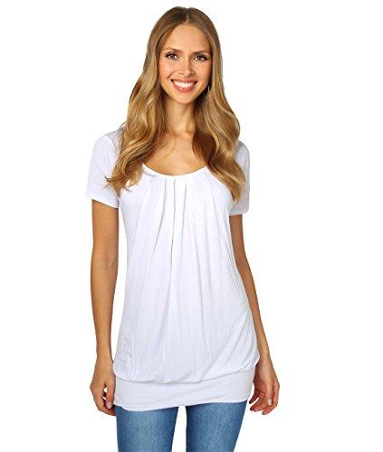 KRISP Damen Langes Gerafftes Shirt mit Breitem Bund (Weiß, Gr.46) (5079-WHT-18)