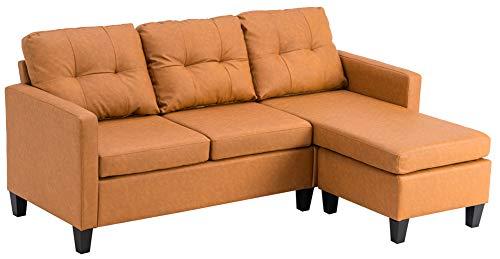 Sofá seccional de PU marrón claro moderno en forma de L sofá de combinación para apartamento pequeño espacio