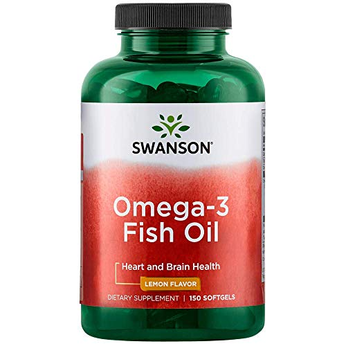 Swanson Omega 3 Fish Oil Supplement Heart Brain and Joint Support GMO-Free EFAs 180 mg EPA Plus 120 mg DHA 150 Softgel Capsules Lemon Flavor