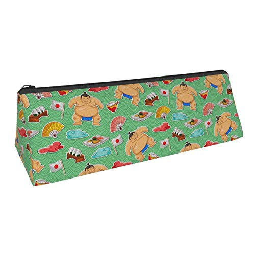 Japanese Sumo Wrestler Flag Sushi Cuisine Themed Printed Triangle Pen Pencil Bag Pencil Case Makeup Bag Storage Bag B Cosmetic Purse Zipper Pouch Students Office Artist Accories