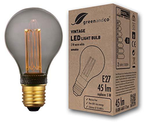 greenandco® Vintage Design LED Lampe zur Stimmungsbeleuchtung E27 A60 Edison Glühbirne 2W 45lm 2000K smoke extra warmweiß 320° 230V flimmerfrei nicht dimmbar 2 Jahre Garantie