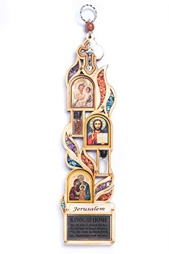 Große Haussegen-Holzplakette mit Motiven Jerusalem / Maria / Jesus / Kreuz, mit Halbedelsteinen, zum Aufhängen