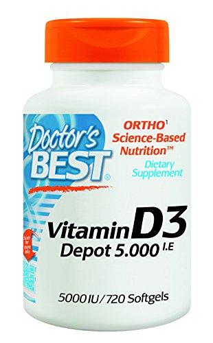 Doctor's Best | Vitamin D3 Depot | 5000 I.E | 720 Weichkapseln | Wochendosis | glutenfrei | sojafrei