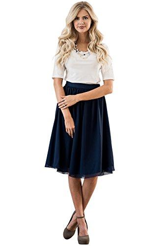 Mikarose Modest Chiffon Skirt In Navy Blue, Knee-Length Chiffon Skirt In Dark Blue