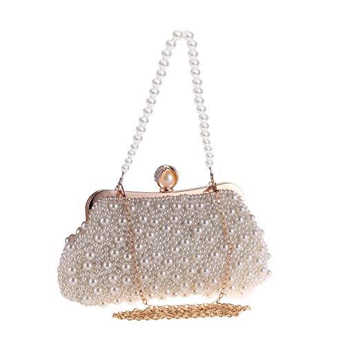 Brownrolly dames edele handgemaakte kristallen parels handtas schoudertas / cosmeticatas / portemonnee met parel hand ketting & metalen ketting