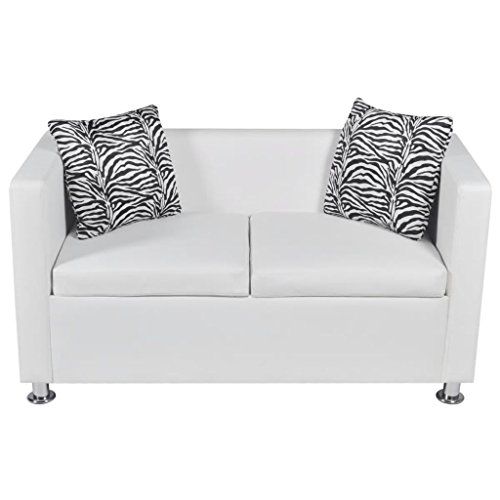 pedkit 2-Sitzer Sofa Couch Loungesofa Relaxsofa Relaxcouch Kunstleder Weiß 120 x 62,5 x 63 cm (L x B x H)