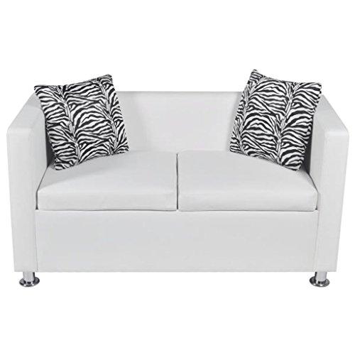 Vislone Divano 2 Posti in Pelle, Divano Bianco Moderno, Divano da Soggiorno con 2 Cuscini, 120x62,5x63 cm