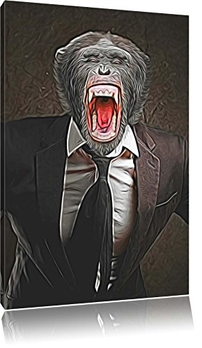 schreiender Affe im Smoking Format: 60x40 auf Leinwand, XXL riesige Bilder fertig gerahmt mit Keilrahmen, Kunstdruck auf Wandbild mit Rahmen, günstiger als Gemälde oder Ölbild, kein Poster oder Plakat