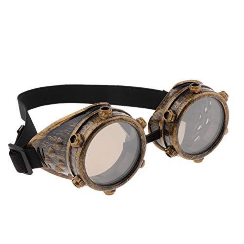 sharprepublic Vintage Steampunk Cyber Retro Runde Schraube Brille Gothic Viktorianischen Zubehör - Antikes Gold
