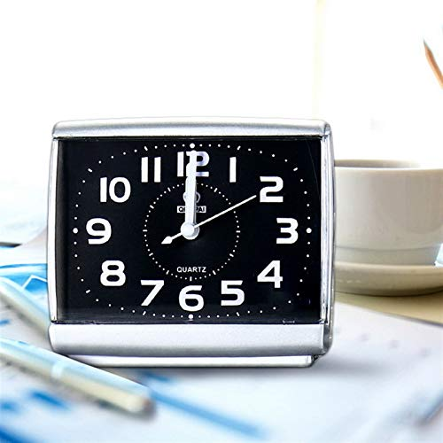 Despertadores Moda Cuadrada Reloj Despertador Dormitorio Dormitorio de Escritorio Despertar Relojes Dormitorio al Lado del Estudiante plástico silencioso Barrido pequeño Mesa Reloj (Color : Black)