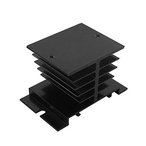 Fait Adolph Relaisplatine Einphasen-Solid State Relais SSR Aluminium-Kühlkörper Dissipation Kühler Kühlkörper Geeignet for 10A-25A-Relais Kontrollvorlage (Size : Black)