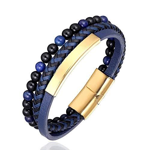 Nuevo acero inoxidable piedra perlas pulsera acero inoxidable accesorios piedra tigre hombres brazalete punk cuero mujeres joyería hecha a mano