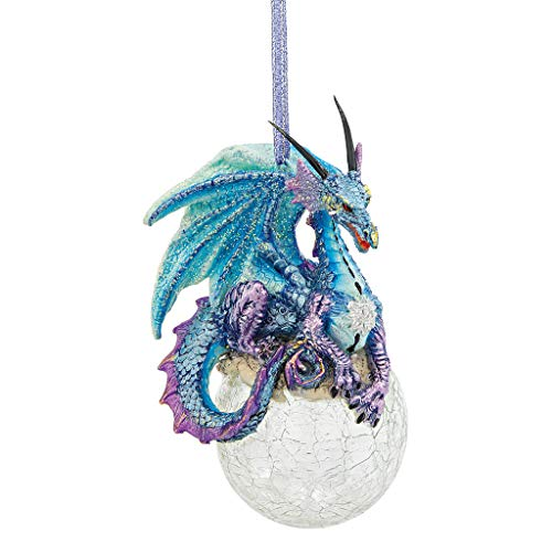 Design Toscano Christmas Tree Frost The Gothic Holiday Snowflake Dragon Ball Ornament, Single, Multicolored