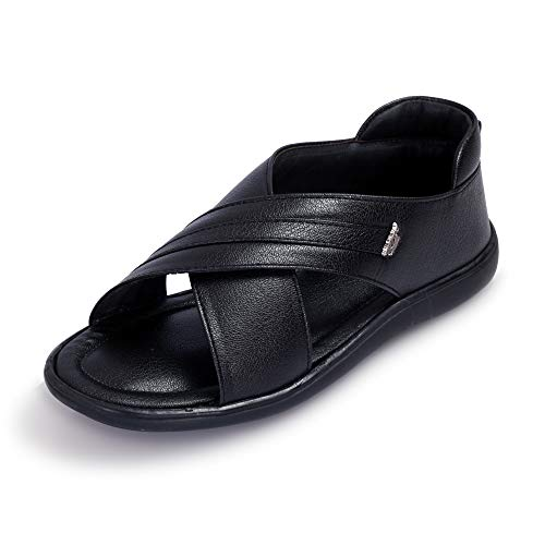 Black Cooper Men/Boy Casual Thong Slip-on Sandal of Synthetic Leather with Latest Stylish Design for Formal and Outdoor Fashion
