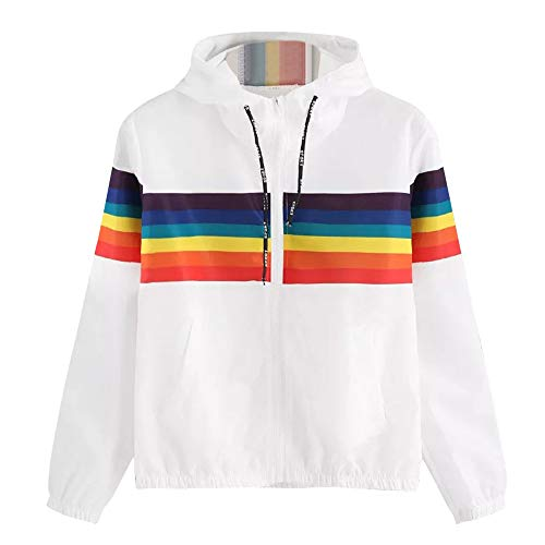 Kimloog Womens Rainbow Drawstring Zip Up Hooded Sports Jacket Windproof Windbreaker(White,S)
