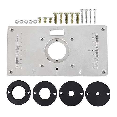 Find Bargain Router Table Plate Insert Plate 700C Aluminum Trim Panel with 4 Rings Screws for Woodwo...